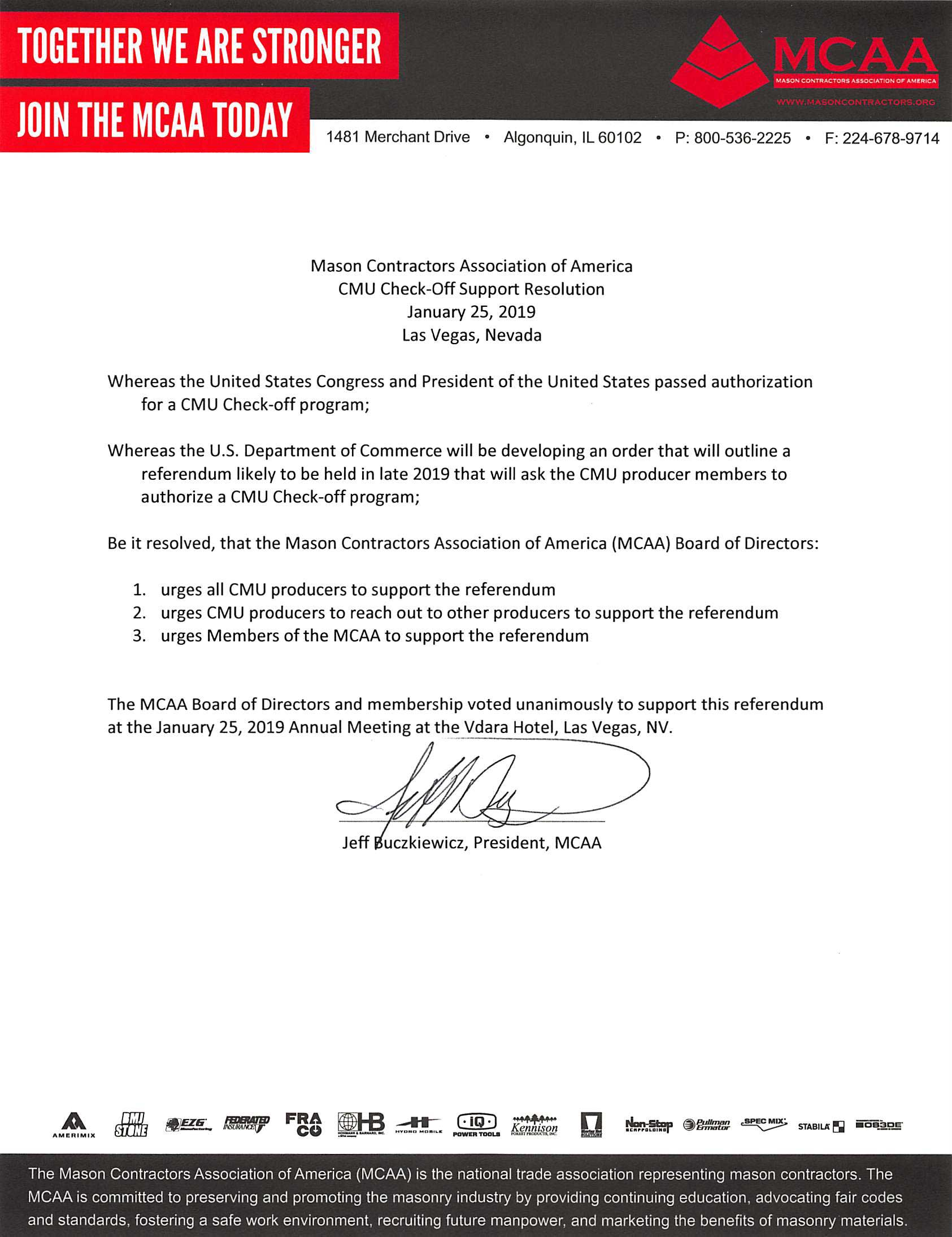 MCAA Resolution